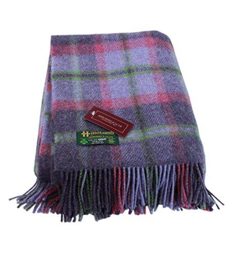 "Plaid Throw Blanket Purple Wool 75"" x 54"" Ireland Made Lambswool Blanket"