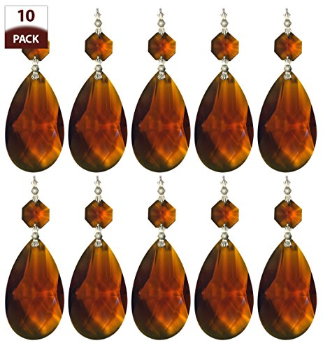 Amber Prisms (Royal Designs Replacement Chandelier Crystal Prism Amber K9 Quality Tear Drop Almond Cut with Chrome Connectors and an Amber Octogan Crystal Beads Pack of)