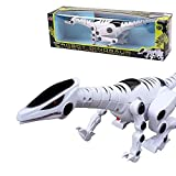 PowerLead Robot Dinosaur with Roaring Sound Walking Red Flash Light for Kids