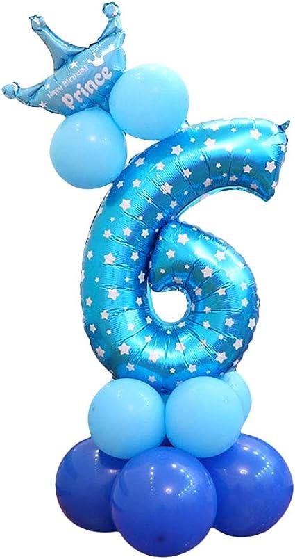 Amazon Com Globo Con Número 6 De 32 Pulgadas Ideal Para Fiestas De Cumpleaños Fiestas De Cumpleaños Decoración Azul Toys Games