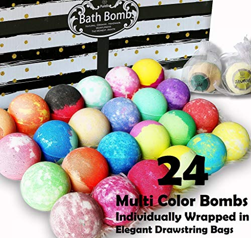 (Aromatherapy Bath Bomb Gift Set.24 Individually Wrapped Bath Bombs in Gorgeous Mesh Bags. Lush Bath Bombs Set Ready To Gift as Party Favors, Wedding Favors etc. 24 Bath Balls Fizzers)