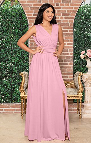 47fee255663 KOH KOH Womens Long Bridesmaid Wedding Guest Cocktail Party Sexy Sleeveless  Summer V-Neck Evening Slit Day Full Floor Length Gown Gowns Maxi Dress  Dresses