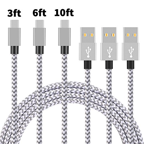 Cheap Accessories Type C Cable, Arukas 3Pack 3ft 6ft 10ft Nylon Braided USB C..
