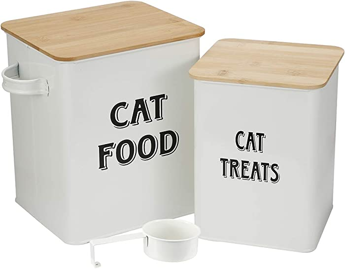 Cat Food and Treats Containers Set with Scoop for Cats or Dogs -Tight Fitting Wood Lids - Coated Carbon Steel - Storage Canister Tins-Cat