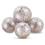 Chuangdi 4 Pieces Glitter Beach Ball Confetti Beach Ball Inflated Party Ball for Summer Beach Favor (16 Inch-3 Pieces, 24 Inch-1 Piece) Larger Image