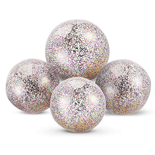 Chuangdi 4 Pieces Glitter Beach Ball Confetti Beach Ball Inflated Party Ball for Summer Beach Favor (16 Inch-3 Pieces, 24 Inch-1 Piece)]()