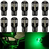 10-Pack T10 194 168 168 2825 Extremely Bright Green 200Lums Canbus Error Free 12V LED Light,8-SMD 5730 Chipsets Car Replacement Bulb For Map Dome Courtesy License Plate Side Marker Light