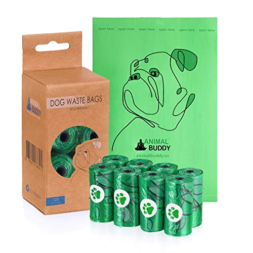 Animal Buddy Strong Thick Leak Proof Earth Friendly EPI Poop Bags for Dogs Waste Bags Measures 9X13