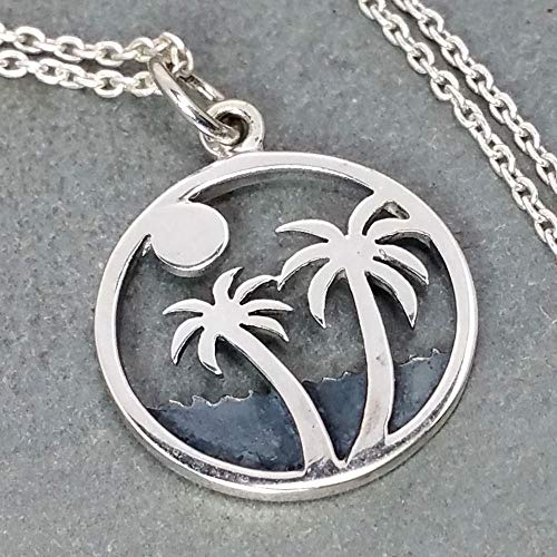 Palm Trees on Island Necklace - 925 Sterling Silver ()
