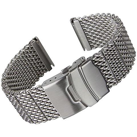 Geckota Stainless Steel Watch Band Milanese Mesh Satin 22 mm (22mm Mesh Watchband)