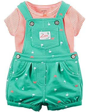 Carters Baby Clothing Outfit Girls 2-Piece Neon Tee & Palm Tree Shortalls Set Mint