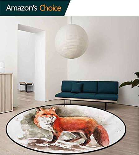 RUGSMAT Fox Small Round Rug Carpet,Watercolor Hand Drawn Red Fox with Bushy Tail Brushstrokes Tod Mammal Door Mat Indoors Bathroom Mats Non Slip,Diameter-24 Inch Burnt Sienna White Brown