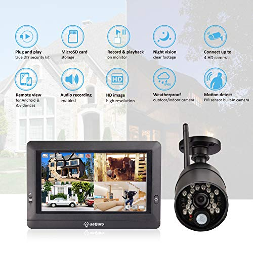 SEQURO GuardPro Home Surveillance DVR Kit, Outdoor Waterproof Camera and Portable Monitor, Local Record and Play CCTV…