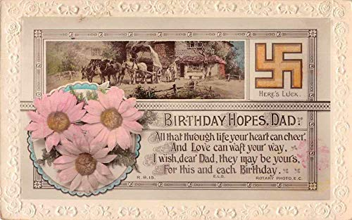 Birthday Greetings Dad Flowers Swakstika Tinted Real Photo Postcard AA851