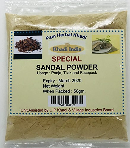- Pam Herbals Khadi Special Sandalwood Powder For Face pack,Worship & Auspicious occasions (50g Pouch)
