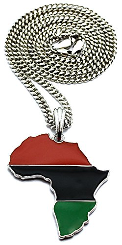 GWOOD Pan Africa Metal African Pendant 24 Inch Long Necklace (Silver Color with 24 INCH Cuban ()