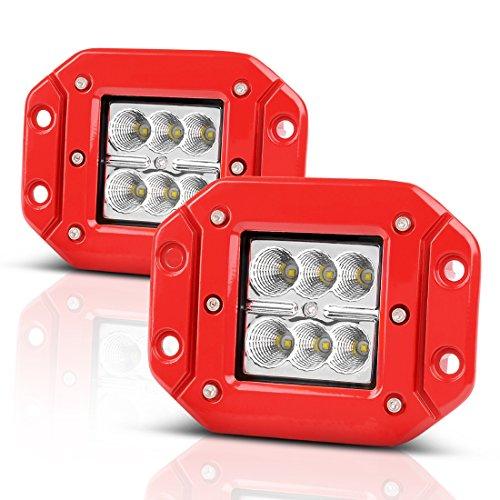 AUTOSAVER88 2PCS 5 48W 4800lm Red Offroad Flush Mount Pods, Led Light Bar, Led Fog Lights, Extra Bright & Super Duty Design, for Truck Pickup Jeep SUV ATV UTV Waterproof, 2 years Warranty