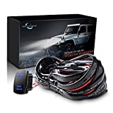 MICTUNING LED Light Bar Wiring Harness Fuse 40Amp Relay ON-OFF spot light Rocker Switch Blue(2 Lead 12ft)