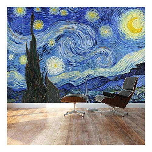 Large Wall Mural Famous Oil Painting Reproduction of Starry Night by Vincent Van Gogh Vinyl Wallpaper Removable Decorating