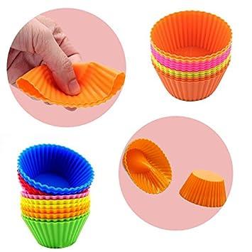 Leisial Silicona Moldes para Cupcake de Taza del Mollete de Ronda Molde de Gelatina Molde de la Torta de Forma Interesante Lindo(Random Color): Amazon.es: ...