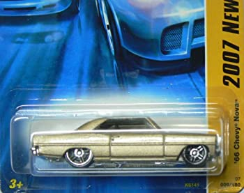 Mattel Hot Wheels 2007 New Models 1:64 Scale Gold Slammed 1966 Chevy Nova Die Cast Car #009 1