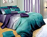 Purple and Teal Bedding Swanson Beddings Twilight-P 3-Piece 100% Cotton Bedding Set: Duvet Cover and Two Pillow Shams (Queen)
