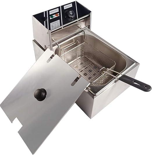 SISHUINIANHUA Control de Temperatura freidora eléctrica Mini freír máquina multifunción Solo Tanque fritos Cacerola de la Plancha de virutas con Tapa, US: Amazon.es