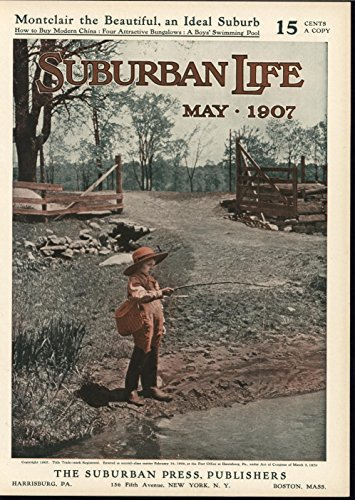 (Young Boy Fishing in Shallow Stream Simple Pleasures 1907 antique color print)