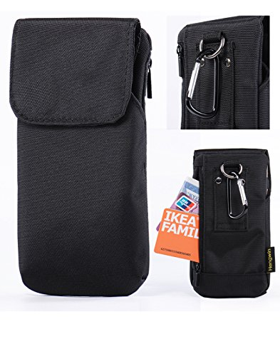 iPhone 7 Plus 6S Plus Belt Clip Case Pouch,Premium Nylon Smartphone Holster Phone Holster waist pouch Carrying Case with Belt Loop for Galaxy S6 Edge Plus S7 Edge Plus S8 Plus LG G5/G6 V20-Black