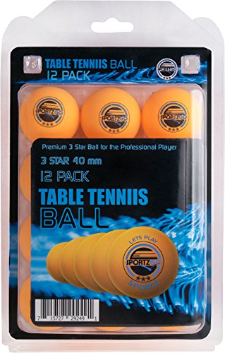 Sportly® Table Tennis Ping Pong Balls, 3-Star 40mm Advanced Training Regulation Size Balls, -12 Pk- Orange