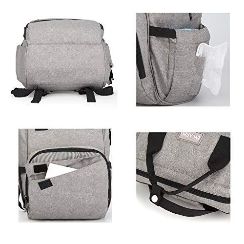incarpo Waterproof Diaper Bag Large Capacity Backpack Multi Function Travel Nappy BagFashion and Durable,Gray