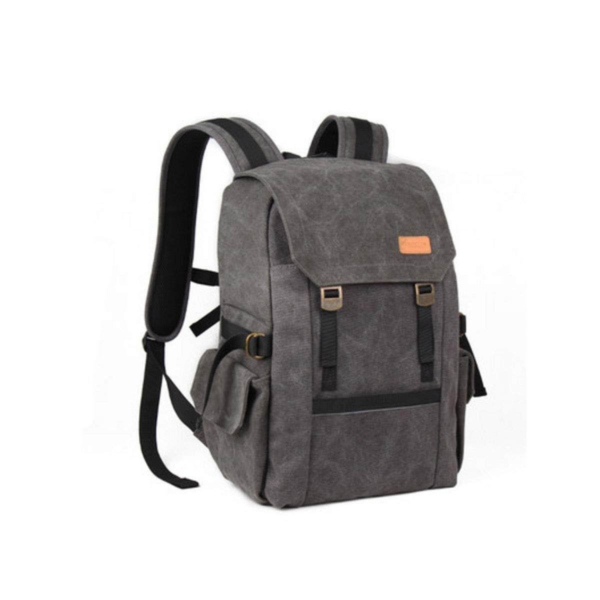 カメラバッグ、ショルダー一眼レフカメラのバックパックバッグ、プロの旅行アウトドアキャンバスカメラバッグ、ミリタリーグリーン (Color : Black) B07R4V4RSW