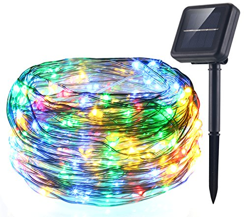 AICase Solar String Lights (72 ft, 200 LED, Waterproof, 8 Modes), Starry Fairy Bendable Copper Wire Durable Outdoor String Lights for Garden, Patio, Home, Dancing, Wedding, Christmas Party (Multi)