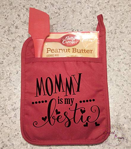 Mommy is My Bestie Pocket Pot Holder Personalized Mother's Day Gift Quilted Oven Mitt Kitchen Decor