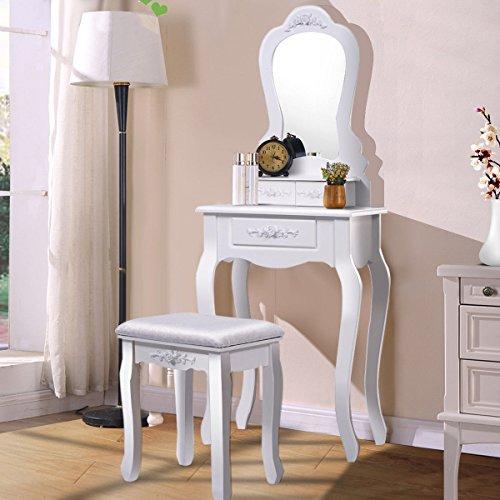 Giantex Bathroom Vanity Wood Makeup Dressing Table Stool Set with Mirror (Sector Mirror, 3 Drawers)