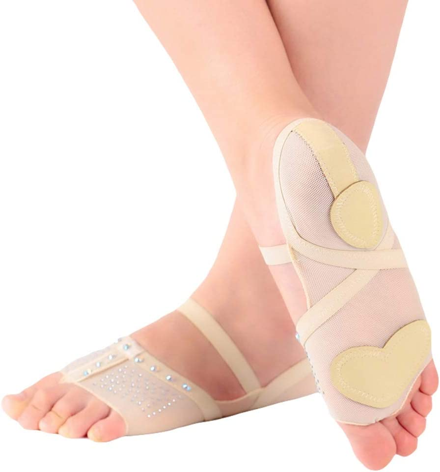 Gyratedream Ballett Tanz Socken Thong Toe Pad Strass Mesh Halbschuhe Bauchtanz Practice Schuhe Halbschuhe Ballett Footcover
