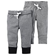 Carter's Baby Boys' 2 Pack Pants, Black Stripe/Grey, 3 Months