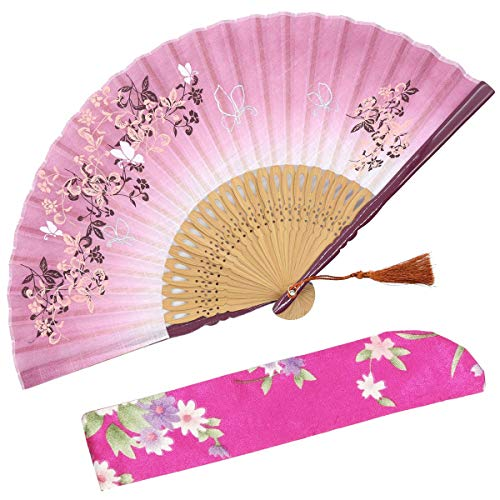 OMyTea 8.27(21cm) Women Hand Held Silk Folding Fans with Bamboo Frame - with a Fabric Sleeve for Protection for Gifts - Chinese/Japanese Style Butterflies and Morning Glory Flowers Pattern (Red)