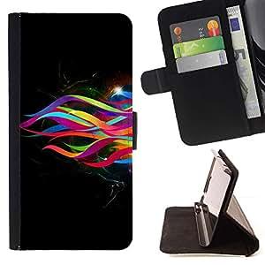 Momo Phone Case / Flip Funda de Cuero Case Cover - Dise?o Color Lines - Samsung Galaxy J3 GSM-J300