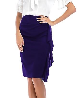 Falda Tubo Mujer Elegantes Moda Color Sólido Cintura Alta con ...
