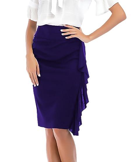 Falda Tubo Mujer Elegantes Moda Color Sólido Cintura Alta Especial ...