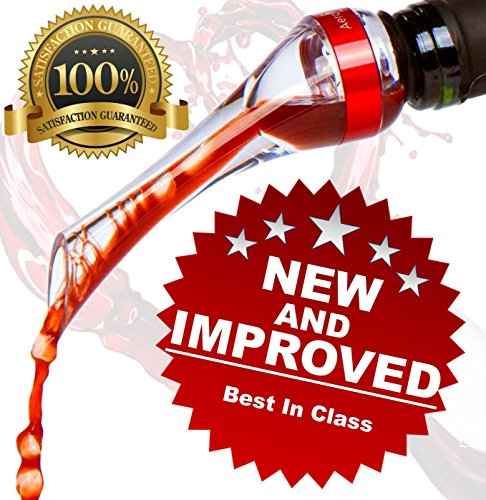 AeroVaní Red Wine Aerator Pourer - Perfect Gift Accessory | Premium UPGRADED | MORE THAN DOUBLES THE FLAVOR OF YOUR WINE via INSTANT Aeration | Best In Class 100% Satisfaction Money Back Guarantee by AeroVaní