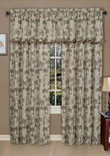 Sheer Palm Tree - Casual Living Palm Rod Pocket Valance, 50-Inch by 20-Inch, Assorted Colors