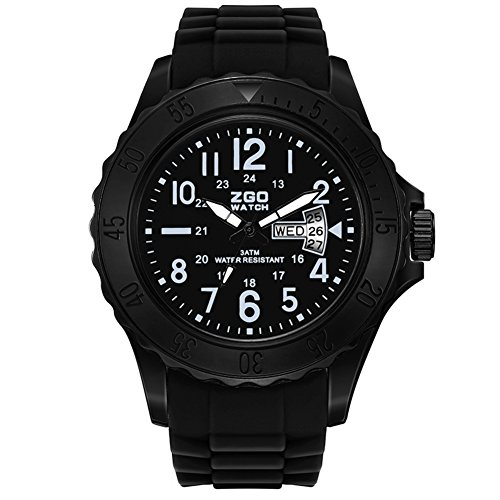 Mens quartz watch,Table 50m waterproof Luminous Silicone strap Dual time zone Calendar Commando [movement] Junior Leisure Young people watch-B ()