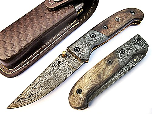 Rocky Pocket Knife Damascus Steel Blade Bone Handle