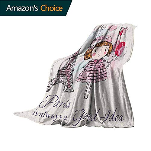 Paris Weighted Blanket,Little Girl Holding Balloons Hearts a Cloud and Eiffel Tower Illustration Super Soft and Comfortable,Suitable for Sofas,Chairs,beds,35