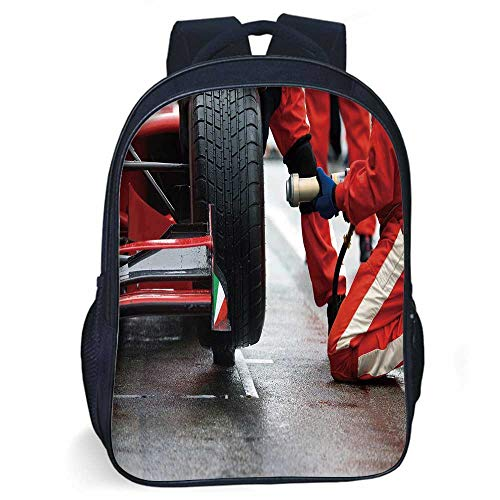 Man Cave Decor Stylish Backpack,Professional Racing Team at Work Pit Stop Racecar Fast Tyre Changing Image for Daily Use,11.8
