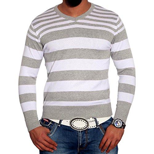 Herrenpullover Pulli Sweatshirt Strickjacke Sweater Kontrast Langarmshirt Herren, Größe:S, Farbe:Grau