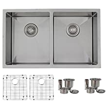 30-inch Undermount Kitchen Sink Double Bowl 50/50 .18 Gauge Stainless Steel,Two Grids,Two Basket Strainers, S-304G