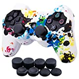 9CDeer 1 Piece of Silicone Water Transfer Protective Sleeve Case Cover Skin + 8 Thumb Grips Analog Caps for PS3 Controller, Splashing Graffiti